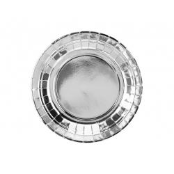 Talerz papierowy srebrny 18cm 6szt