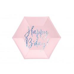 Talerz Happy B'day jasny pudrowy róż 20 cm 6szt