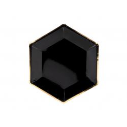 Talerz papierowy czarny ze złotym brzegiem 23cm 6 szt.