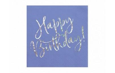 Serwetka Happy Birthday granatowa
