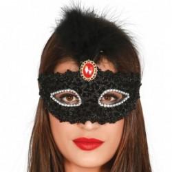 Maska z pióropuszem czarna