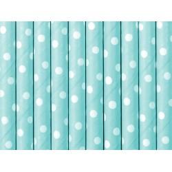 Rurki papierowe błękitne w białe kropki