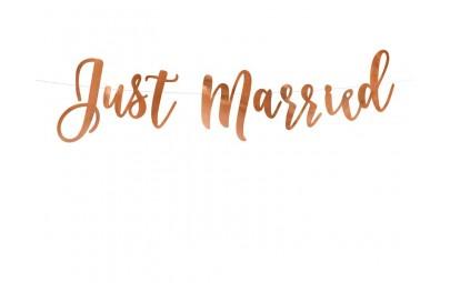 Baner Just Married różowe złoto
