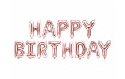Balon foliowy Happy Birthday różowe złoto