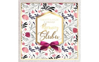 Kartka z okazji Rocznicy Ślubu różowe kwiaty