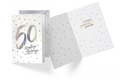 Kartka urodzinowa 50 lat holograficzna
