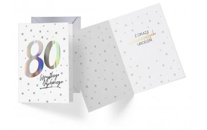 Kartka urodzinowa 80 lat holograficzna