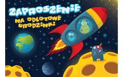 Zaproszenie urodzinowe Kosmos 5szt
