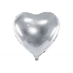 Balon foliowy 18 serce srebrne