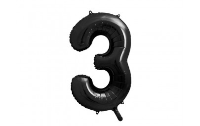 Balon foliowy cyfra 3 86cm czarny