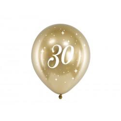 Balony Glossy 30cm 30 złoty 6szt