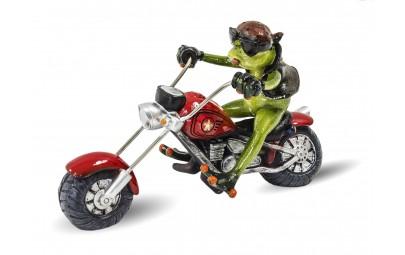 Figurka żaba na motorze 14x21x10cm