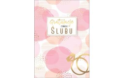 Kartka ślubna różowo-złota z pierścionkiem