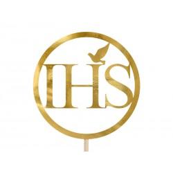 Topper na tort IHS złoty 22cm