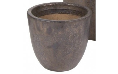 Donica Glazed Egg Pot brąz D35/H44