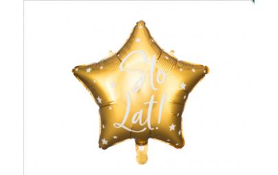 Balon foliowy Sto Lat! złoty 40cm
