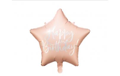 Balon foliowy Happy Birthday jasny pudrowy róż 40cm