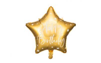 Balon foliowy Happy Birthday złoty 40cm