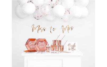 Zestaw dekoracji party - Wieczór panieński, różowe złoto