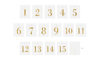 Numery na stół zestaw naklejek 9,5x12cm 30szt