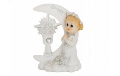 Figurka komunijna Dziewczynka przy Hostii 9cm