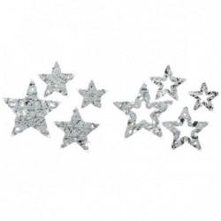 Ozdoba metalowa gwiazda z cekinami biało srebrna 30x05cm