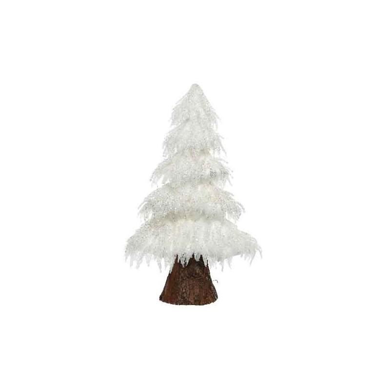 Choinka na pniu biła brokat 15x36x60cm