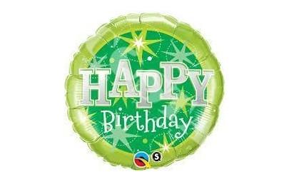 Balon 18 b-day green sparkle