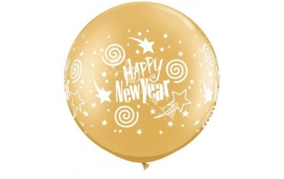 Balon 1m złoty New Year 2szt.