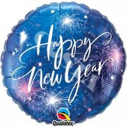 BALON 18 NEW YEAR FIREWORKS & STARS 1SZT