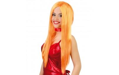 Peruka długie włosy pomarańczowe
