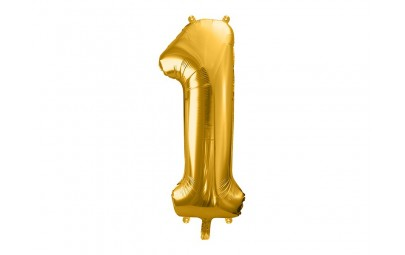 Balon foliowy 34 cyfra 1 złota