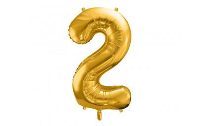 Balon foliowy 34 cyfra 2 złota