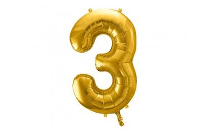 Balon foliowy 34 cyfra 3 złota