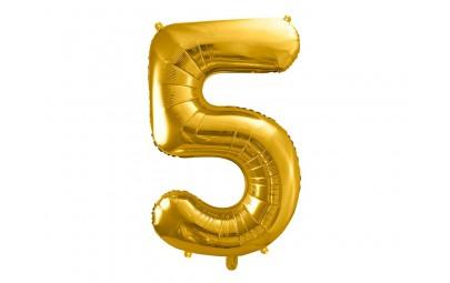 Balon foliowy 34 cyfra 5 złota