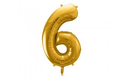 Balon foliowy 34 cyfra 6 złota