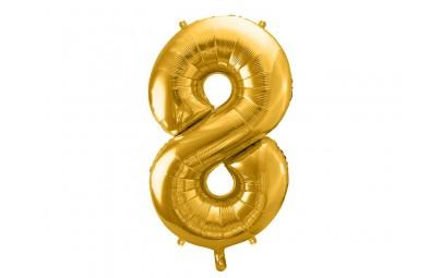 Balon foliowy 34 cyfra 8 złota
