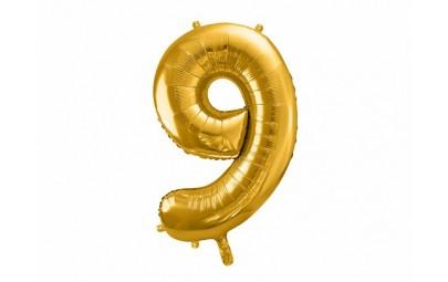 Balon foliowy 34 cyfra 9 złota