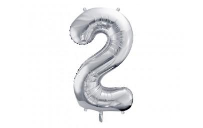 Balon foliowy 34 cyfra 2 srebrna