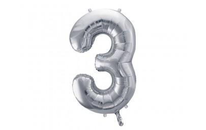 Balon foliowy 34 cyfra 3 srebrna