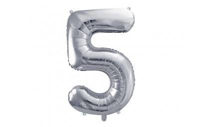 Balon foliowy 34 cyfra 5 srebrna