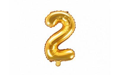 Balon foliowy 14 cyfra 2 złota