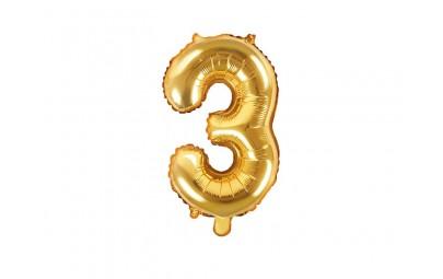 Balon foliowy 14 cyfra 3 złota