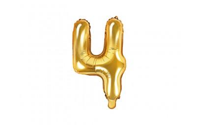 Balon foliowy 14 cyfra 4 złota
