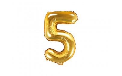 Balon foliowy 14 cyfra 5 złota