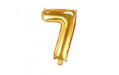 Balon foliowy 14 cyfra 7 złota