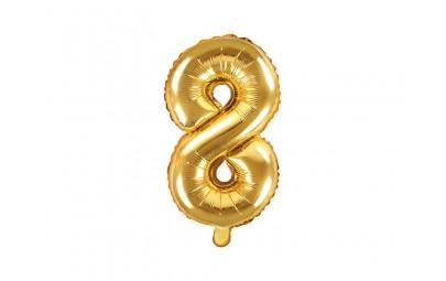 Balon foliowy 14 cyfra 8 złota