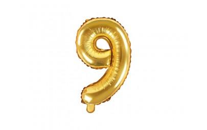 Balon foliowy 14 cyfra 9 złota