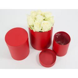 flowerbox okragly czerwony z folia