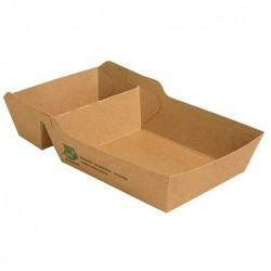 Tacka na frytki z kartonu 2 części 80szt 3,8x8,5x15,5cm brązowe art.87257